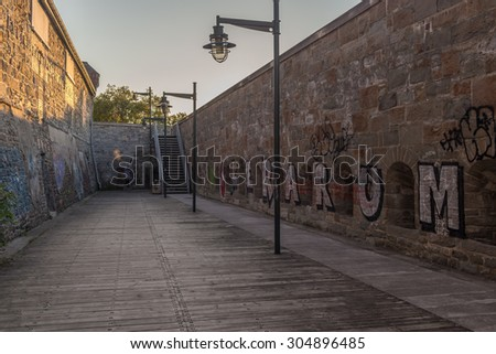 Section of the walls that surround Quebec Old City, in Quebec, Canada. Photograph shot on September 2014