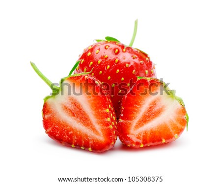 Section strawberries. Detailed cut strawberries isolated on white background