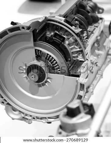 Sectional view of automotive engine - stock photo