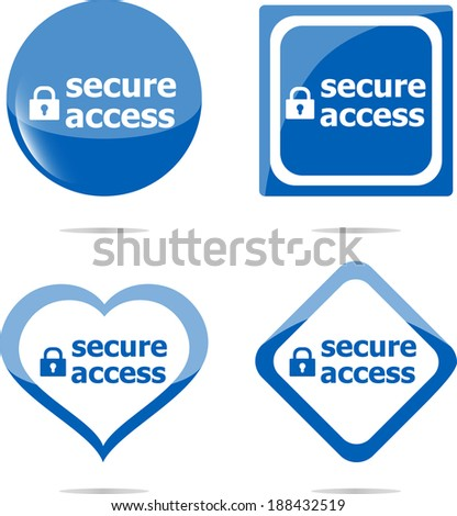 secure access with lock on black stickers set - stock photo