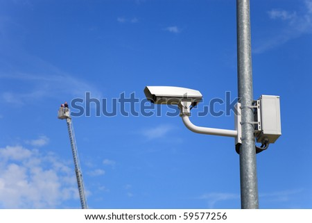 Secure area - industrial monitoring cctv. - stock photo