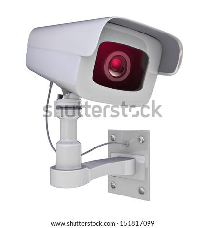 Secure camera isolated on a white background - stock photo