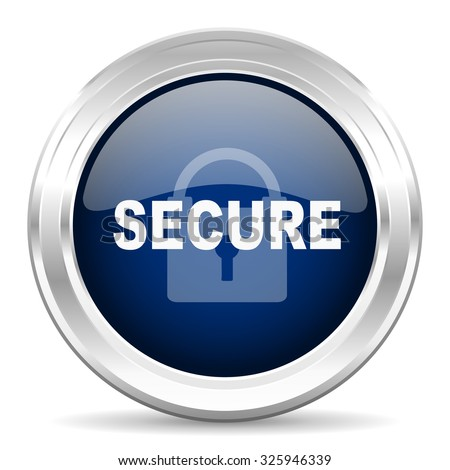 secure cirle glossy dark blue web icon on white background - stock photo