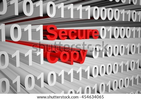 secure copy in the form of binary code, 3D illustration