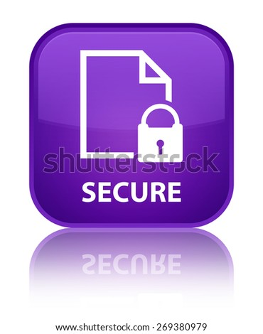 Secure (document page padlock icon) purple square button - stock photo