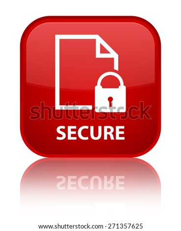Secure (document page padlock icon) red square button - stock photo