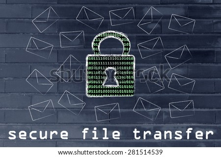 secure file transfer and encryption: lock with binary code texture surrounded by flying mails - stock photo