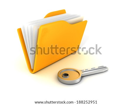 Secure files concept. Document Folder with Key. Business security concept 3d render illustration - stock photo
