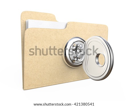 Secure files. 3d Illustration of Manila file Folder with  lock and Key. Brown Paper Texture. - stock photo