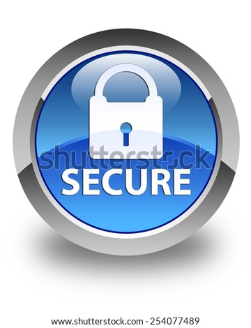 Secure glossy blue round button - stock photo