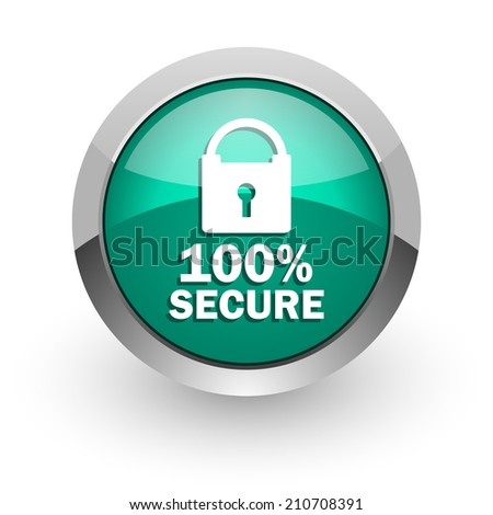 secure green glossy web icon  - stock photo
