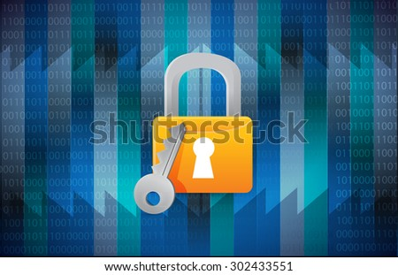 secure lock over a binary background illustration design - stock photo