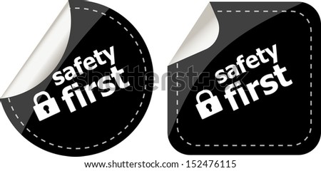 Secure Lock Sign Label, safety first, raster