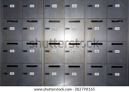 Secure lockers in a school front on - stock photo
