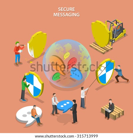 Secure messaging isometric flat concept. People are building global protected messaging system (instant messenger, social network etc.) - stock photo