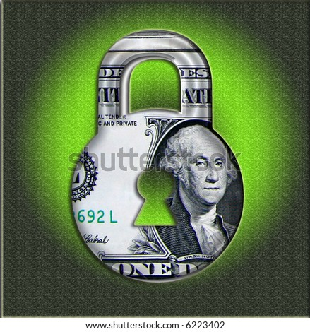 Secure Money  Price Lock Made From Photographed Money - stock photo