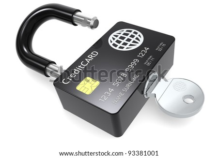 Secure Payments. Credit Card made like a Padlock. - stock photo