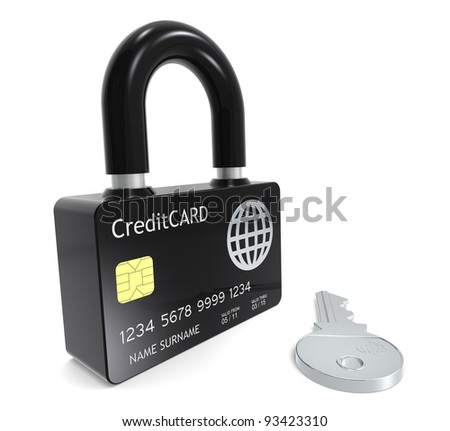 Secure Payments. Credit Card made like a Padlock - stock photo