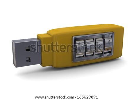Secure Pendrive Concept - 3D - stock photo