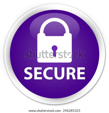 Secure purple glossy round button - stock photo