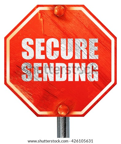 secure sending, 3D rendering, a red stop sign - stock photo