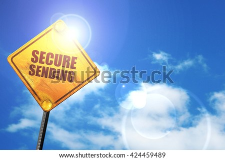 secure sending, 3D rendering, a yellow road sign - stock photo