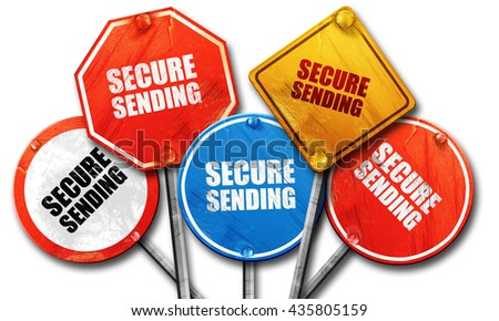 secure sending, 3D rendering, rough street sign collection - stock photo