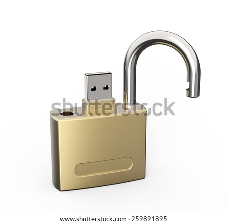Secure usb Data Drive - stock photo
