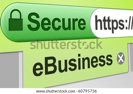 "Secure web site connection for eCommerce, an online store or a business transaction. Browser address bar showing green secure SSL connection on a web browser with an active tab showing ""eBusiness"""
