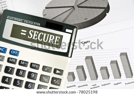 Secure word on electronic calculator