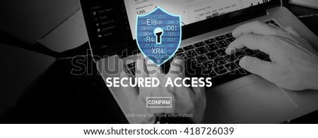 Secured Access Data Protection Security Concept - stock photo