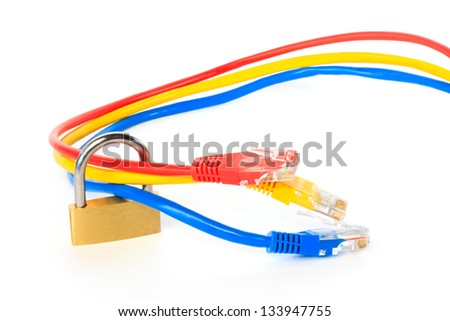 Secured network cables with a padlock against white background - stock photo