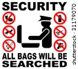 Security all bags will be searched sign illustration JPEG - stock photo