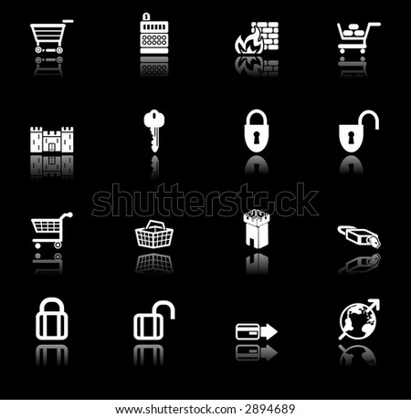 security and e-commerce icon set series. Raster version - stock photo