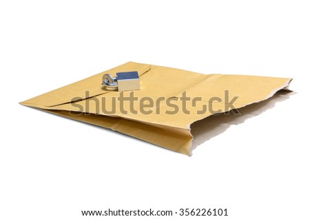 Security backdoor represented by torn Envelope with Padlock on White Background - stock photo