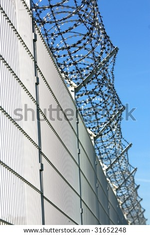 security barbed fence - stock photo