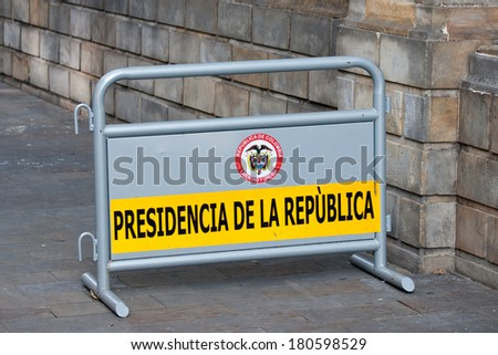 Security barrier used at the Government Palace in Bogota, Colombia - stock photo