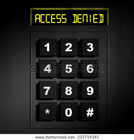 "Security black numeric dial with ""Access Denied"" screen - stock photo"
