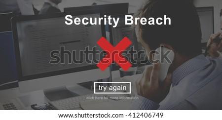 Security Breach Risk Dangerous Hacking Concept - stock photo