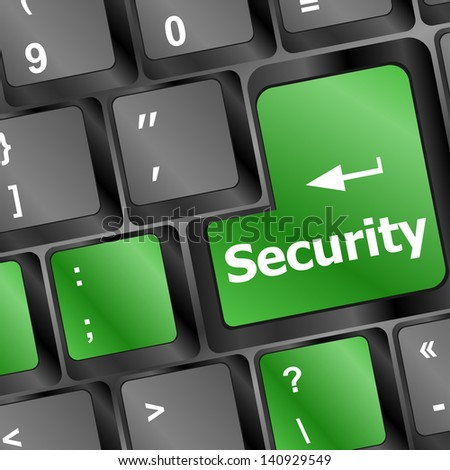 security button on the computer keyboard, raster - stock photo