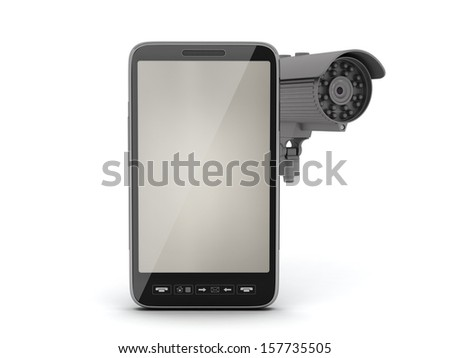 Security camera and cell phone isolated on white background - stock photo