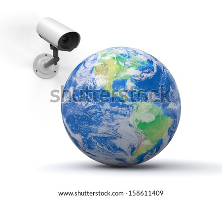 security camera and globe. Earth map provided by NASA - stock photo