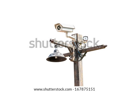 Security Camera ,CCTV on the pole. isolate on white background - stock photo