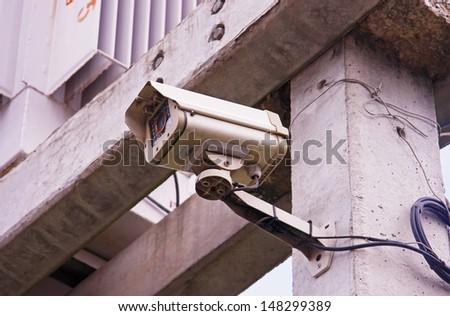 Security Camera,CCTV on wall - stock photo