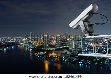 Security camera detects the movement of traffic  along Chao Phraya River.  - stock photo