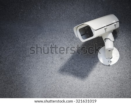 Security camera equipment on wall Safety system area control - stock photo