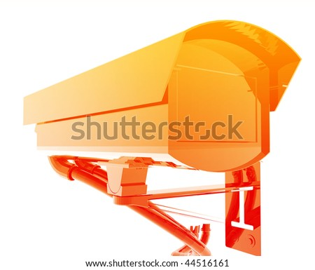 Security camera illustration glossy metal style isolated - stock photo
