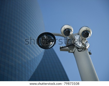 Security Camera in a business area - stock photo