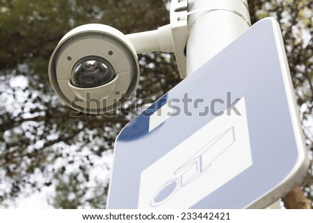 Security camera in a public park, for surveillance