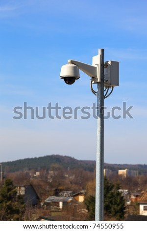 Security Camera - industrial monitoring cctv. - stock photo